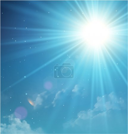 Illustration for Twilight sky with sun and clouds. Vector background for presentation - Royalty Free Image