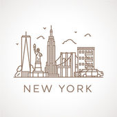 Trendy line illustration of New York City with different famous buildings and places of interest