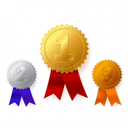 Illustration for Beautiful vector gold, silver and bronze awards - Royalty Free Image