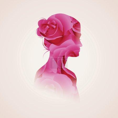 Illustration pour Illustration vectorielle double exposition. Silhouette femme plus fond de fleurs abstraites - image libre de droit