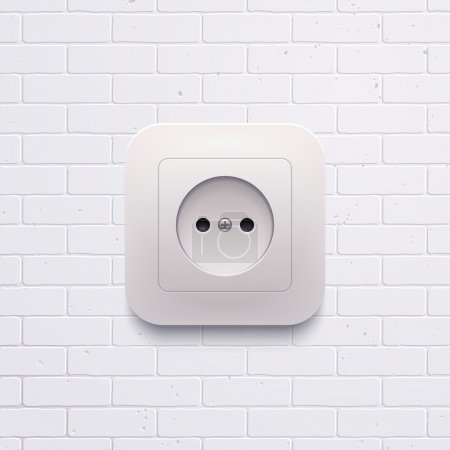 Illustration for Vector electric white socket on the brick wall - Royalty Free Image