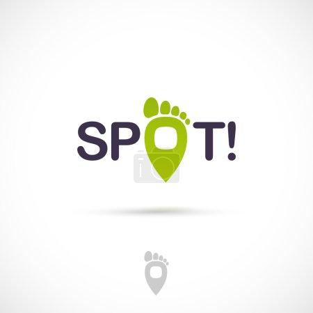 Illustration pour Conception de logo vectoriel, marque de point avec l'icône de symbole de doigts de pied. Modèle de logotype . - image libre de droit