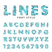 trendy flat font with abstract lines