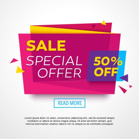 Illustration for Ecommerce bright banner. Nice plastic cards in material design style. Transparent blue, purple and yellow paper. Vector illustration - Royalty Free Image