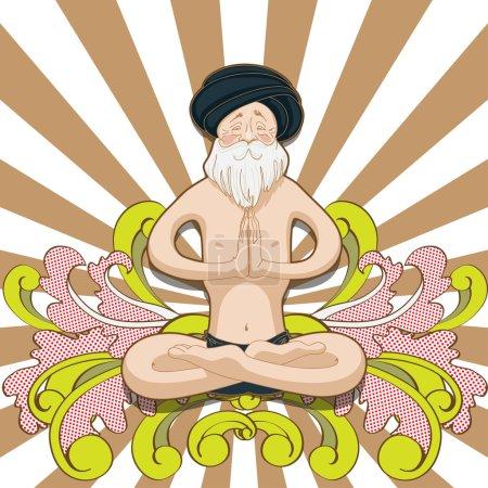 Old man yogi in Padmasana pose