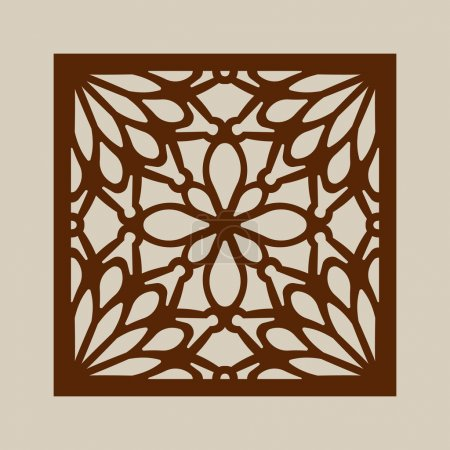 Illustration for Geometric ornament. The template pattern for decorative panel. A picture suitable for printing, engraving, laser cutting paper, wood, metal, stencil manufacturing. Vector. Easy to edit - Royalty Free Image