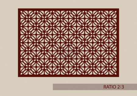 Illustration for Geometric ornament. The template pattern for decorative panel. A picture suitable for printing, engraving, laser cutting paper, wood, metal, stencil manufacturing. Vector - Royalty Free Image