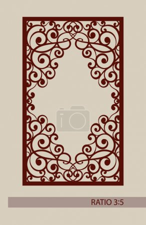 Illustration for Geometric ornament. The template pattern for decorative panel. A picture suitable for laser cutting, paper cutting, printing, engraving wood, metal, stencil manufacturing. Vector - Royalty Free Image