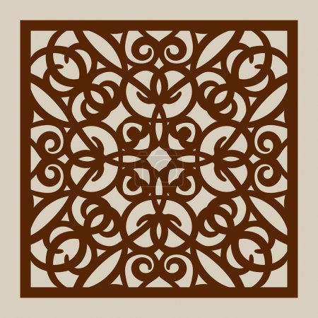 Illustration for Geometric ornament. The template pattern for decorative panel. A picture suitable for paper cutting, printing, laser cutting or engraving wood, metal. Stencil manufacturing. Vector - Royalty Free Image