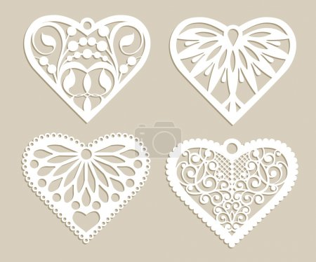 Set stencil lacy hearts with carved openwork patte...