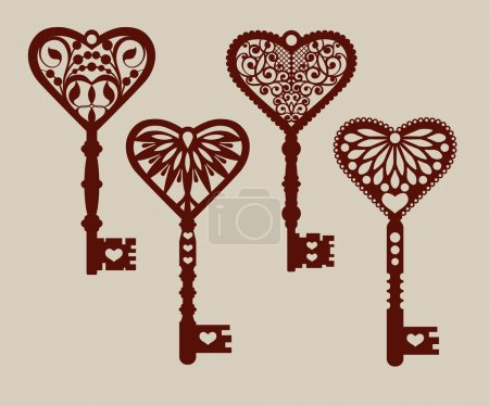 Illustration for Collection of templates of decorative keys for laser cutting, paper cutting, stencil making. The image is suitable for interior design, props, wedding, Valentine's day, individual creativity - Royalty Free Image