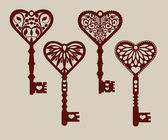 Collection of templates of decorative keys for laser cutting paper cutting stencil making The image is suitable for interior design props wedding Valentine's day individual creativity
