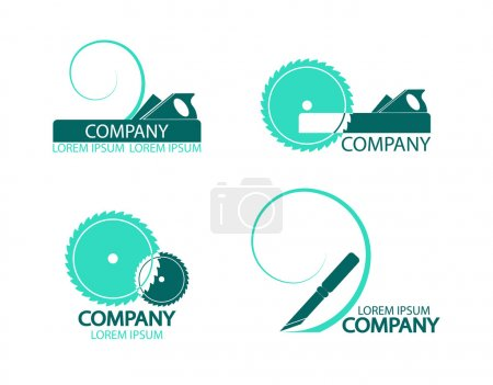 A set of logos, emblems of joiner's tools.