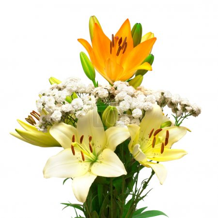 Bouquet of flowers, lilies and daisies
