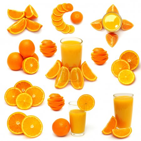Photo for Collection of orange fruits. juice, vitamin C, sliced orange fruits isolated on white background - Royalty Free Image
