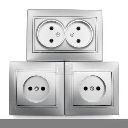 Four gray sockets