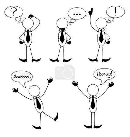 Illustration pour Succès heureux homme d'affaires pose bâton Figure pictogramme icônes - image libre de droit