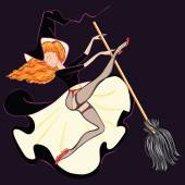 Sexy witch in stockings riding a broomstick Beautiful witch riding a broom Freehand vector illustration A Cartoon Drawing of a Sexy Halloween Witch with a Stockings Vintage Pinup Style
