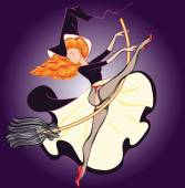 Sexy Witch in Stockings Riding a Broomstick