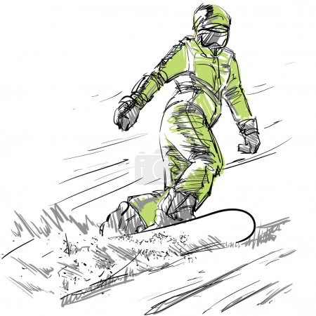 Hand drawing of a snowboarder