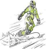 Sketch of Snowboarder Woman on a Slope Vector Illustration Freehand Drawing Free Hand Draw Extreme Winter Sports Beautiful Sporty Girl Sketched Snowboard Rider Snowboarding Downhill