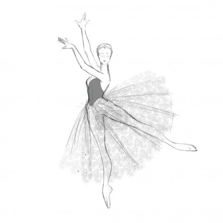 Illustration for Vector sketch of young ballerina in lacy dress, freehand drawing. - Royalty Free Image