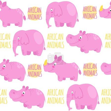 Afrikanische Tiere rosa Vektor nahtlose Muster: Elefant, Nashorn, h