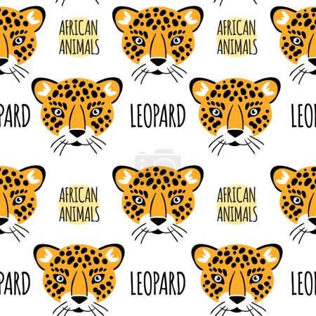 Leopard face with lettering on a white background isolated. Afri