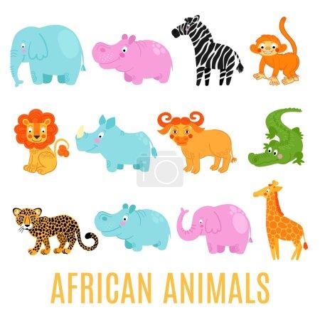 Afrikanische Tiere isoliert auf weißem Hintergrund