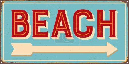 Vintage metal sign - Beach