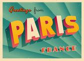 Vintage Touristic Greeting Card - Paris France - Vector