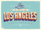 Vintage style Touristic Greeting Card with texture effects - Love from Los Angeles California - Vector