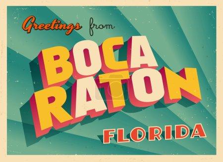 Illustration for Vintage Touristic Greeting Card - Boca Raton, Florida - Vector - Royalty Free Image
