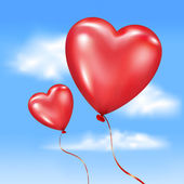 Inflated heart-shaped balloons