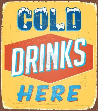 Illustration pour Panneau étain vintage - Boissons froides ici - Vector - image libre de droit