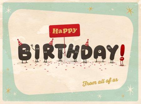 Illustration for Funny vintage Birthday card. Vector illustration - Royalty Free Image