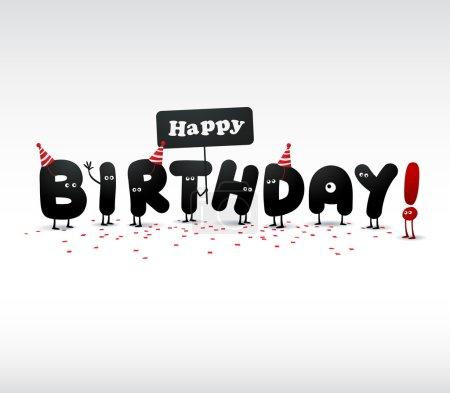 Illustration pour Carte d'anniversaire drôle isolé sur blanc - image libre de droit