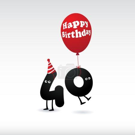 Illustration pour Funny Birthday 44e carte isolée sur blanc - image libre de droit
