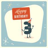 """Постер, картина, фотообои """"Смешные третий день рождения карты"""""""