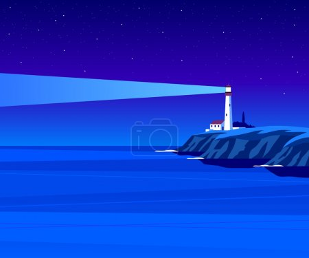 Lighthouse by night illustration