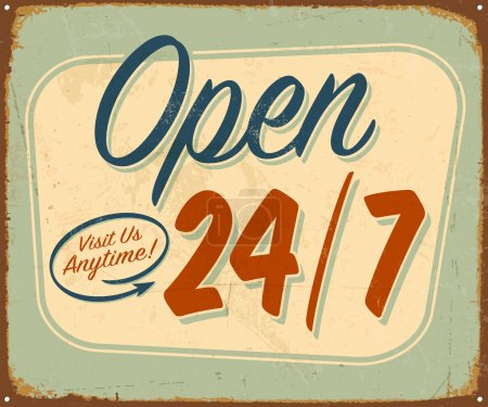 Vintage tin sign - Open 24/7 sign - Vector...