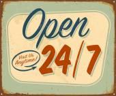 Vintage Open 24/7 sign