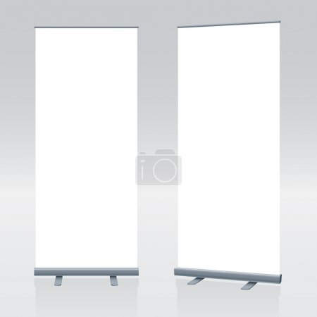 long vertical rollups or banners on greybackground