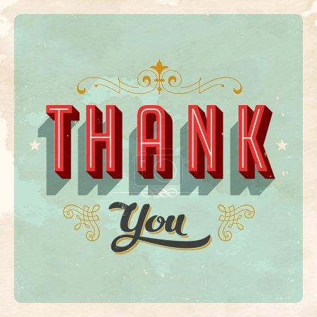 Illustration for Vintage card - Thank You. Vector illustration. - Royalty Free Image