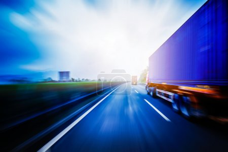 Photo for Container truck on the highway. - Royalty Free Image