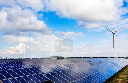 Photo for Wind turbines and solar panels. Green energy - Royalty Free Image