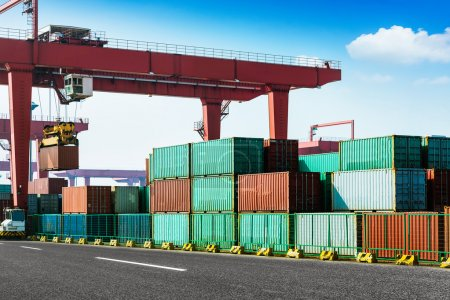 Photo for Containers in the port of Laem Chabang in Thailand. - Royalty Free Image