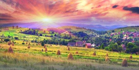 haystacks in Carpathian mountains