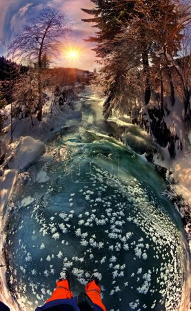 Frost on mountain river