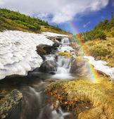 beautiful Waterfall in Carpathian Mountains
